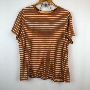 Forever 21 Burnt Sienna Striped Tee Shirt 2XL